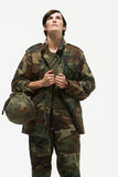 Portrait of a woman soldier Stock Image