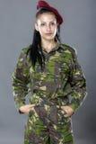 Portrait of a woman soldier Stock Images