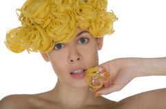 Portrait of woman with a spiral noodle Stock Photography
