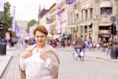 Portrait of woman. Woman standing on a street Karl Johans Gate, Oslo Royalty Free Stock Photography
