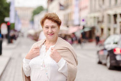 Portrait of woman. Woman standing on a street Karl Johans Gate,Oslo Royalty Free Stock Image