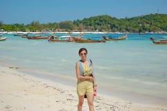 Portrait woman are Stroll the beach , Koh Lipe. stock photography