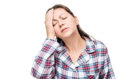 Portrait of a woman with a strong migraine, massage fingers Royalty Free Stock Images