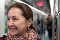 Portrait of  woman  in  subway Stock Photos