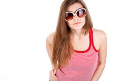 Portrait of a woman in sun glasses isolated Royalty Free Stock Photo