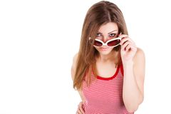 Portrait of a woman in sun glasses isolated. Portrait of a woman in sun glasses stock image
