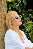 Portrait of a woman with sunglasses Royalty Free Stock Image