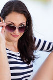 Portrait of a woman with sunglasses stock image Royalty Free Stock Photo