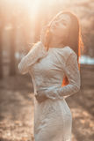 Portrait of a woman in the sunlight. Royalty Free Stock Photos