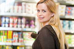 Portrait of Woman in Supermarket Stock Image