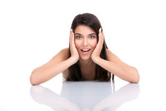 Portrait woman with a surprised face expression Royalty Free Stock Photo