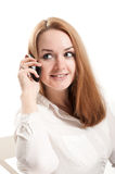 Portrait of  woman talking on a mobile phone Royalty Free Stock Photo