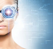 Portrait of a woman with a techno eye Royalty Free Stock Image