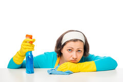 Portrait of a woman, tired of household chores Royalty Free Stock Photos