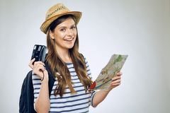 Portrait of woman traveler with camera Royalty Free Stock Photography