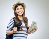 Portrait of woman traveler with camera Stock Image