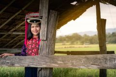 Portrait of woman tribal Lisu in traditional clothing and jewelry costume in cottage., Lifestyle of hill tribe girl in the north. Of Thailand., Asian ethics royalty free stock photos