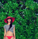 Portrait of a woman in a tropical landscape Royalty Free Stock Images