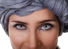 Portrait of woman in a turban. Portrait of glamorous woman in a turban Royalty Free Stock Photos
