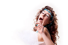 Portrait of a woman with twinkle. Portrait of a cute woman with twinkle royalty free stock images