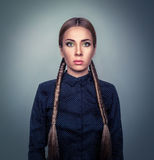 Portrait of a woman with two braids Stock Photo