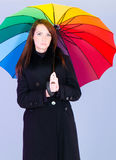 Portrait of woman with umbrella Royalty Free Stock Image