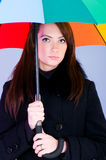 Portrait of  woman with umbrella Stock Photos