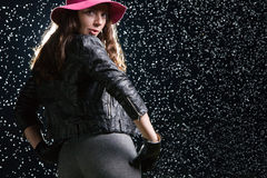 Portrait of woman under the rain. Portrait of 28 years old young beautiful woman under the rain Stock Photo