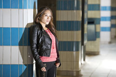 Portrait of a woman in an underground train station Stock Image