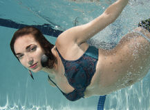 Portrait of a woman underwater Stock Photos