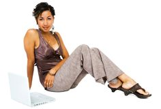 Portrait of a woman using a laptop Royalty Free Stock Photo
