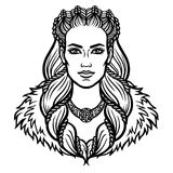 Portrait of the woman of the Valkyrie. Linear drawing. Vector illustration isolated on a white background Stock Photo