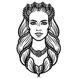 Portrait of the woman of the Valkyrie. Linear drawing. Vector illustration isolated on a white background Royalty Free Stock Photography