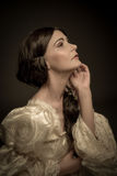 Portrait of woman in vintage dress Royalty Free Stock Photos