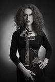 Portrait woman with violin Royalty Free Stock Image