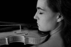 Portrait of woman with violin Royalty Free Stock Image
