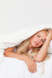 Portrait of a woman waking up Royalty Free Stock Photography