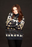 Portrait of a woman in warm sweater Stock Photos