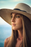 Portrait of  woman  with a warmth light Stock Photos
