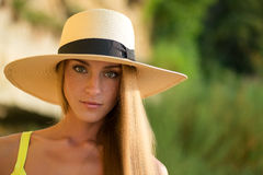 Portrait of  woman  with a warmth light Royalty Free Stock Photo