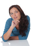 Portrait of woman watching up thinking Royalty Free Stock Photo