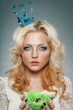 Woman wearing princess crown Stock Image