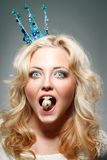 Woman wearing princess crown Royalty Free Stock Photos