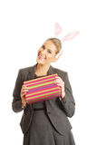 Portrait of a woman wearing bunny ears Stock Photography