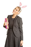 Portrait of a woman wearing bunny ears Royalty Free Stock Image