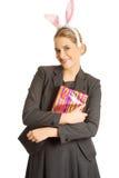 Portrait of a woman wearing bunny ears Stock Image