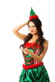 Portrait woman wearing elf clothes pointing left Royalty Free Stock Photos