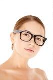 Portrait of Woman Wearing Eyeglasses Stock Images