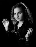 Portrait of woman wearing handcuffs from barbwire Royalty Free Stock Image