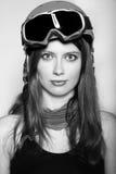 Portrait of woman wearing a helmet. Snowboarder woman wearing a helmet and mask Stock Photography